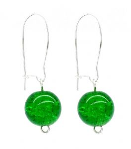 Green Crackled Glass Bead Ball Drop Earrings - Kidney Ear Wire